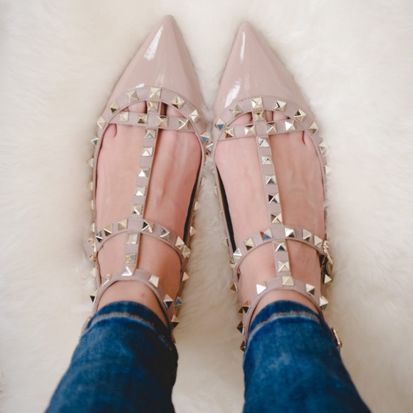 6585c16cf4167 Valentino Garavani Shoes | Valentino Rockstud Patent Flats | Poshmark
